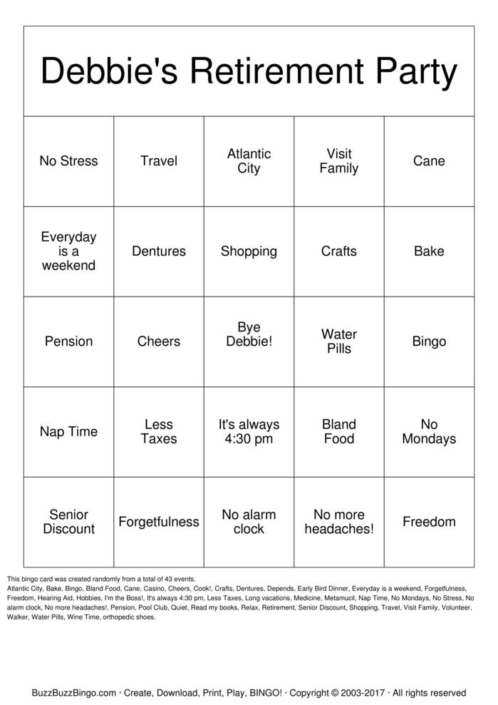 Download Retirement Bingo Cards