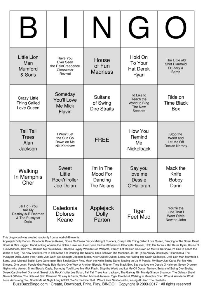 Download Rock 'N' Roll Bingo Cards