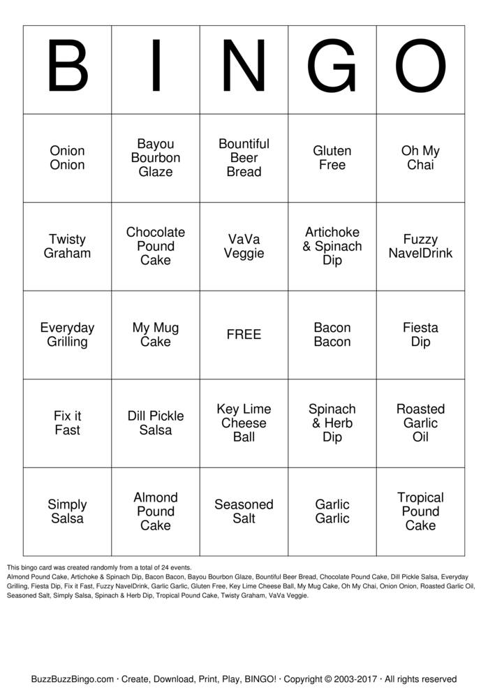 Download Tastefully Simple Bingo Bingo Cards