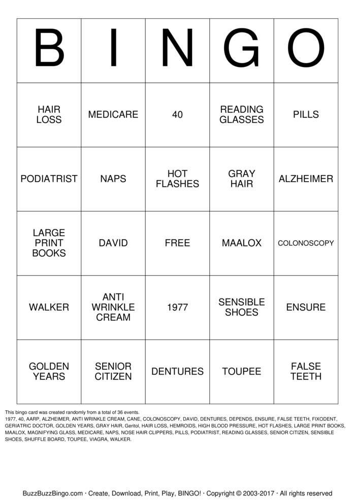Download CHEERS to DAVID'S 40 YEARS Bingo Cards