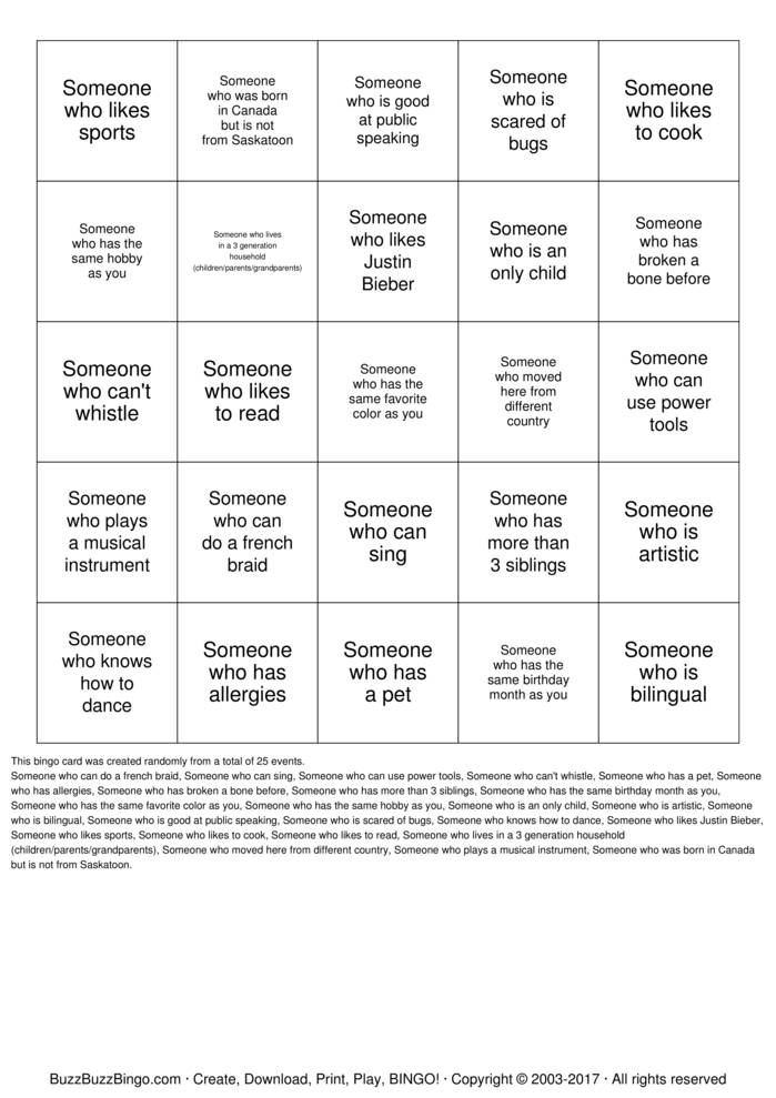 Download Friendship Bingo Bingo Cards