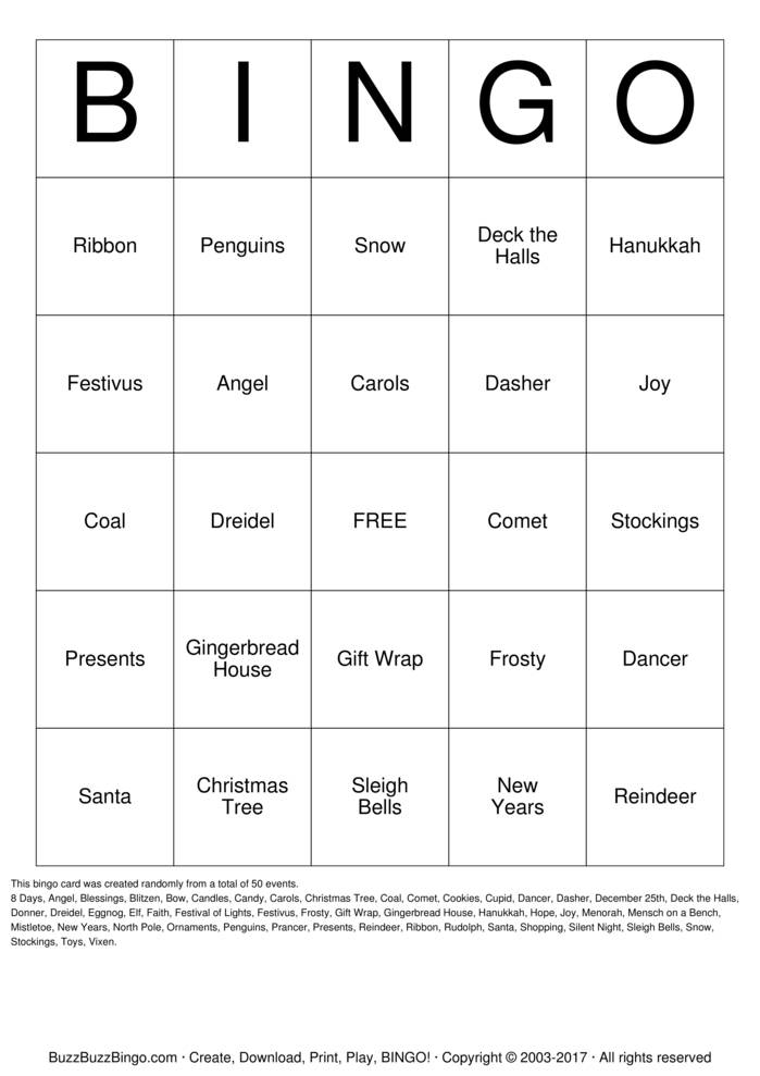 Download Holiday Bingo Cards