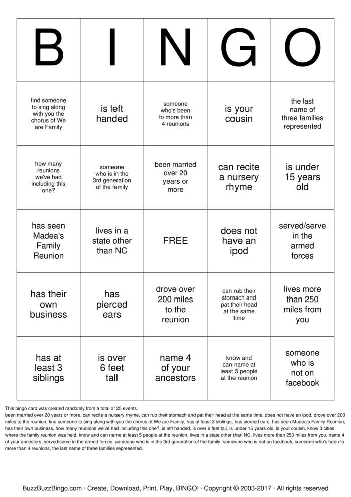Download Johnson Family Reunion  Bingo Cards