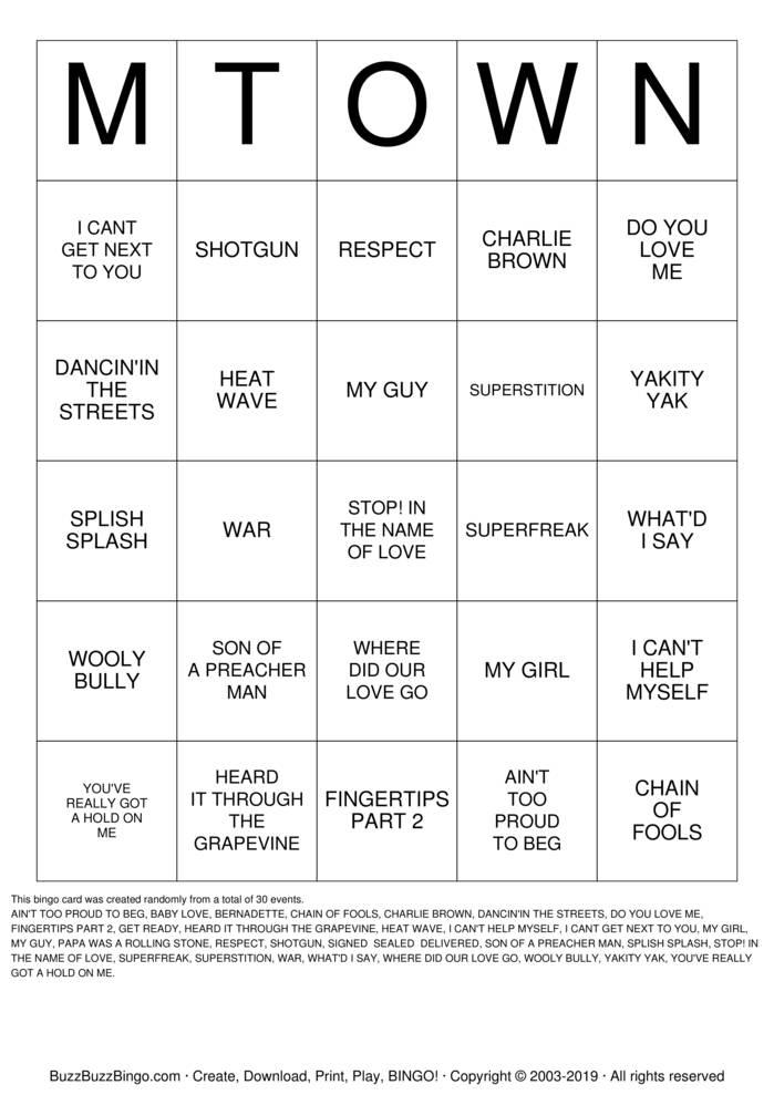 Download Motown Bingo! Bingo Cards
