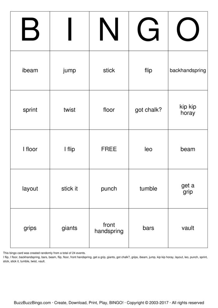 Gymnastics Bingo Cards To Download Print And Customize