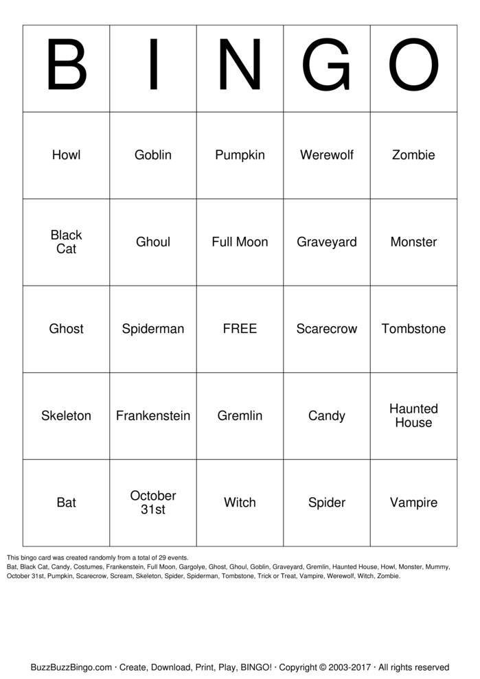 Download Halloween Bingo Cards