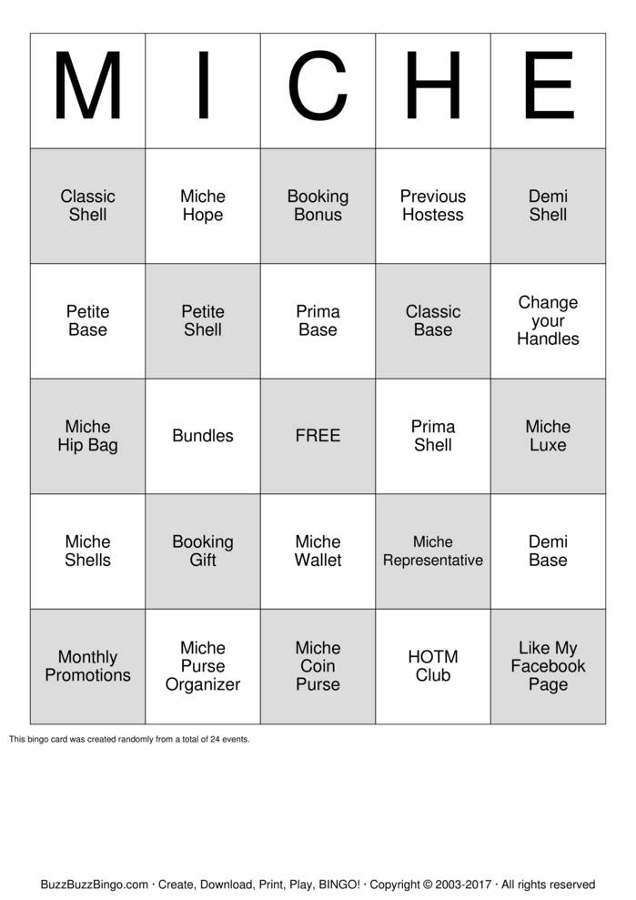 Download Miche Purse BINGO Bingo Cards