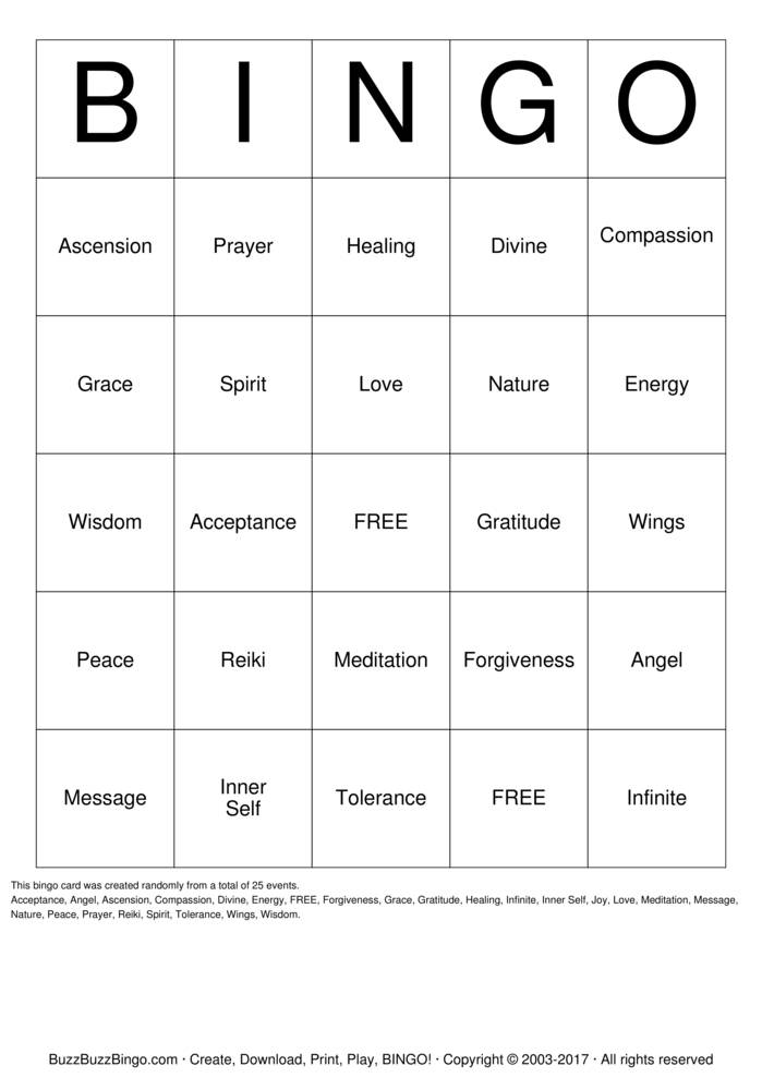 Download Spiritual Bingo Bingo Cards
