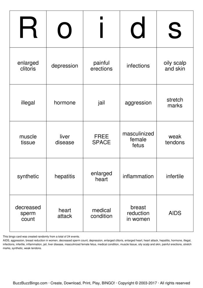 Download Steroids Bingo Cards