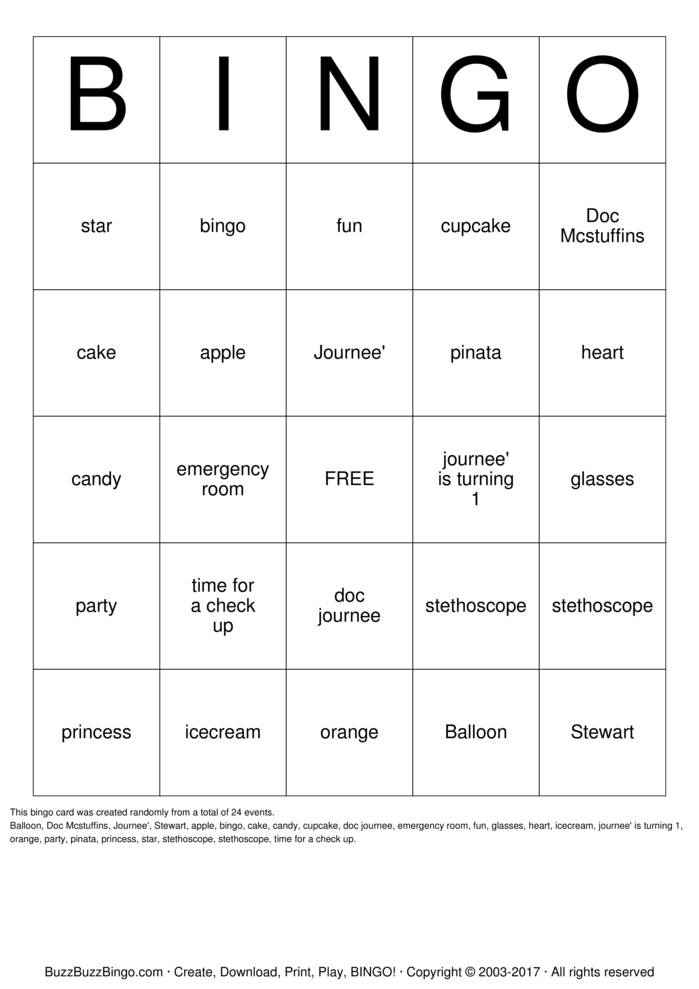 Download Doc McStuffins Bingo Cards