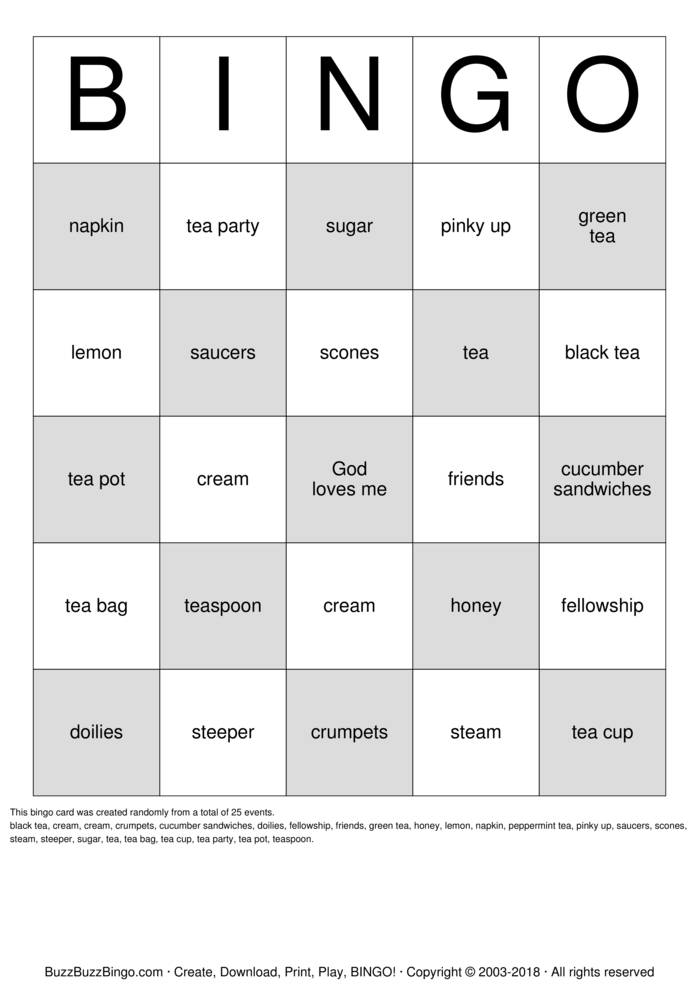 Download tea party bingo Bingo Cards
