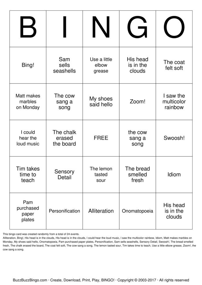 Figurative Language Bingo Card