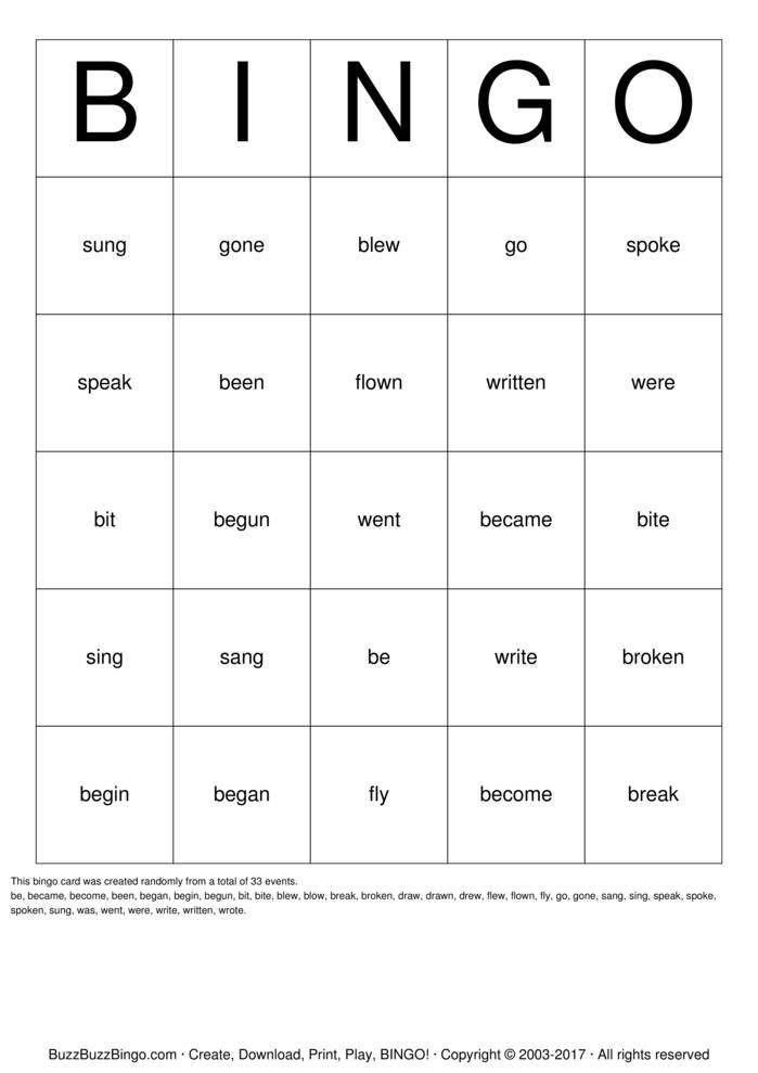 Download Irregular Verbs Bingo Cards