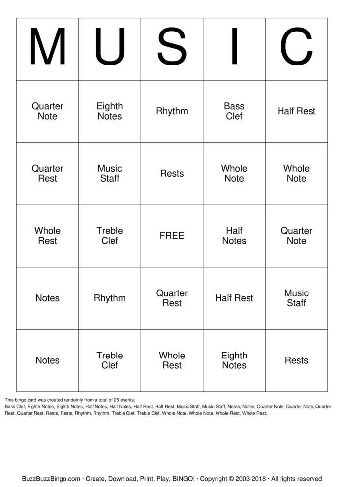 Download MUSIC Bingo Cards