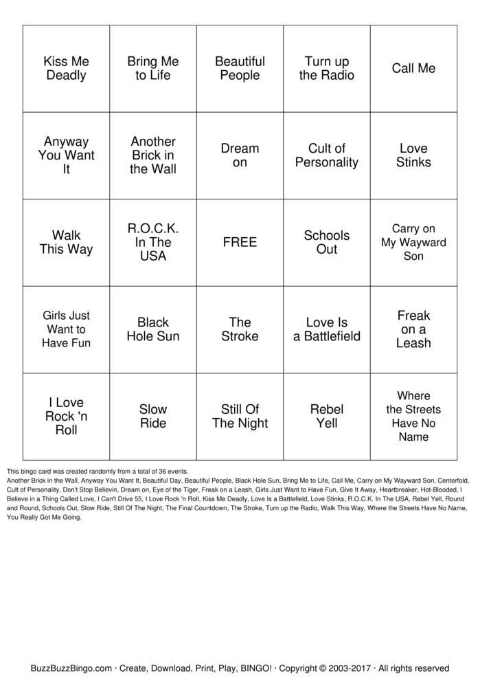 Download Rock 'N' Roll Bingo Bingo Cards