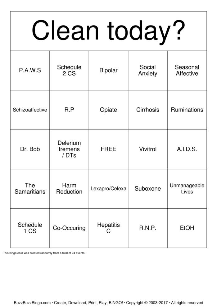 Download SOBER Bingo Cards