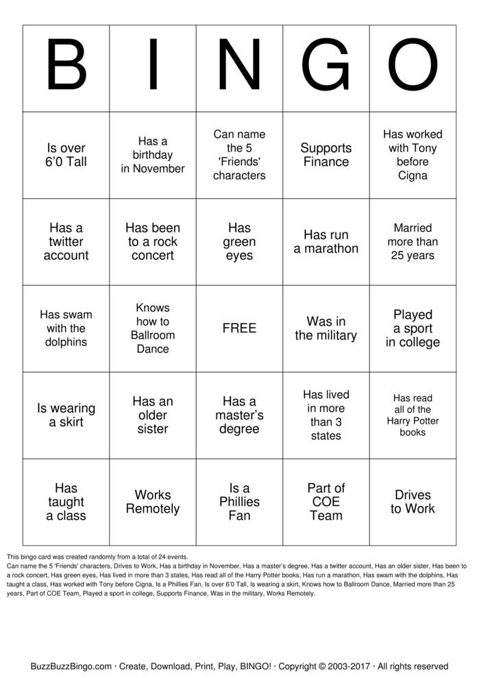 Online dating bingo card