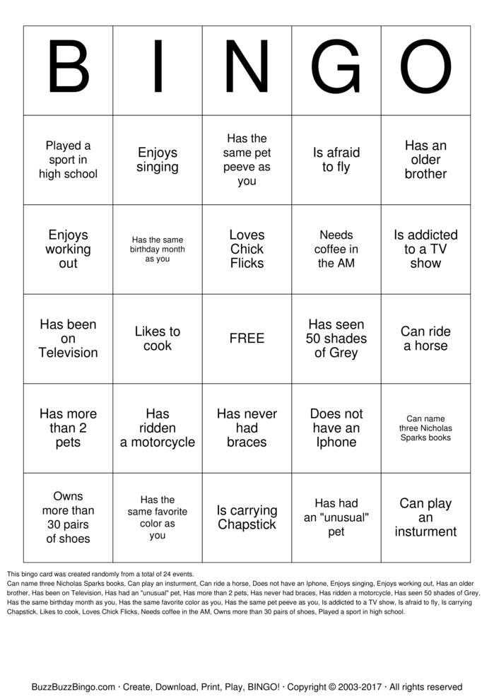 ICEBREAKER BINGO Bingo Cards to Download, Print and Customize!