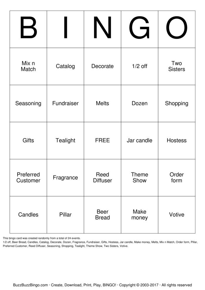 Partylite Bingo Cards To Download Print And Customize
