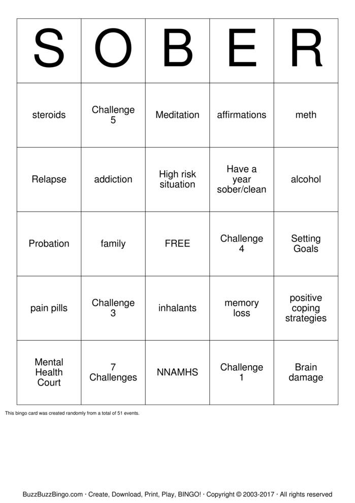 Sober Bingo Cards To Download Print And Customize