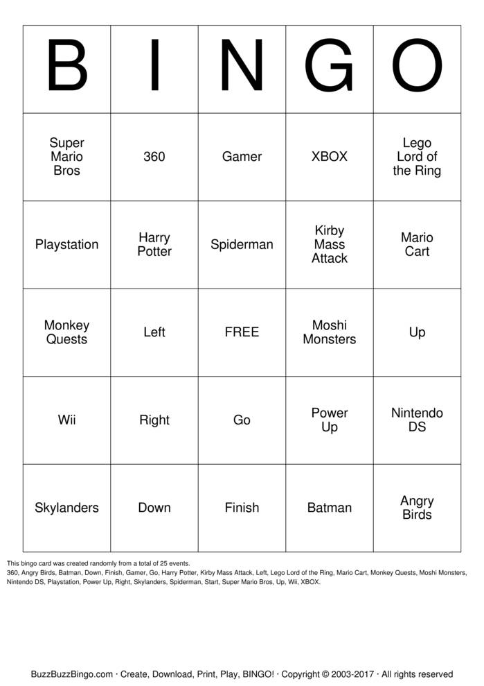 Download batman Bingo Cards