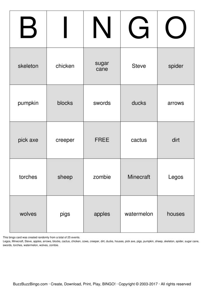 MineCraft Bingo Card