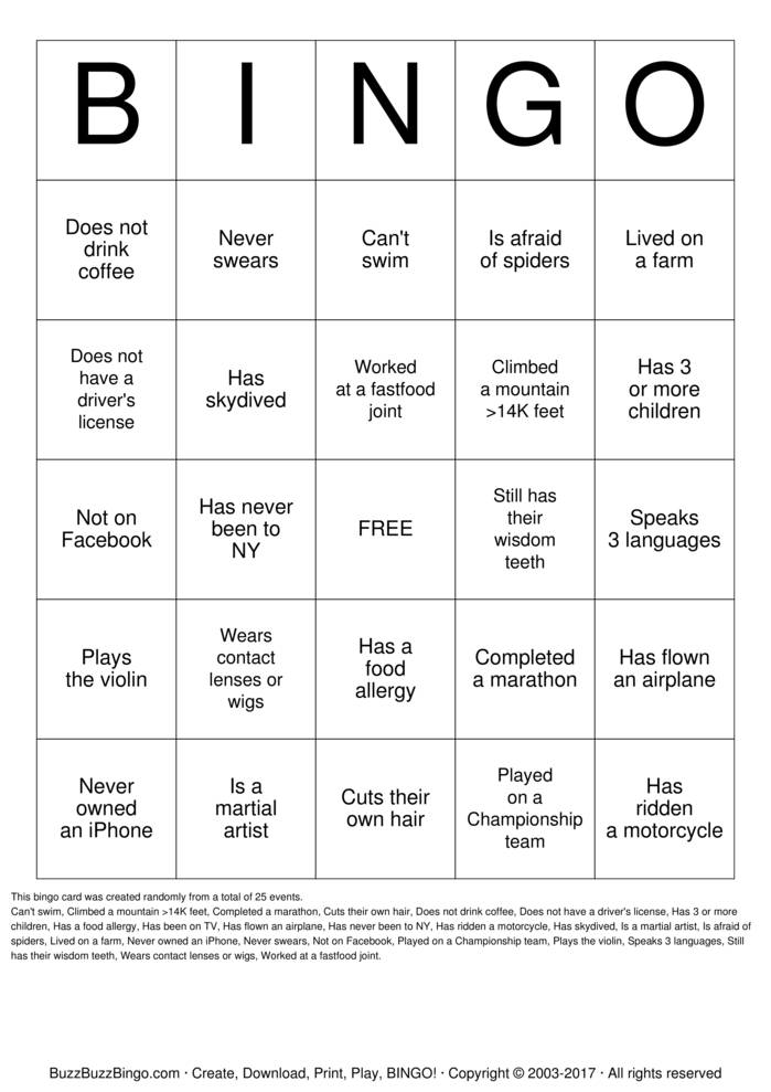 Download People Bingo Bingo Cards