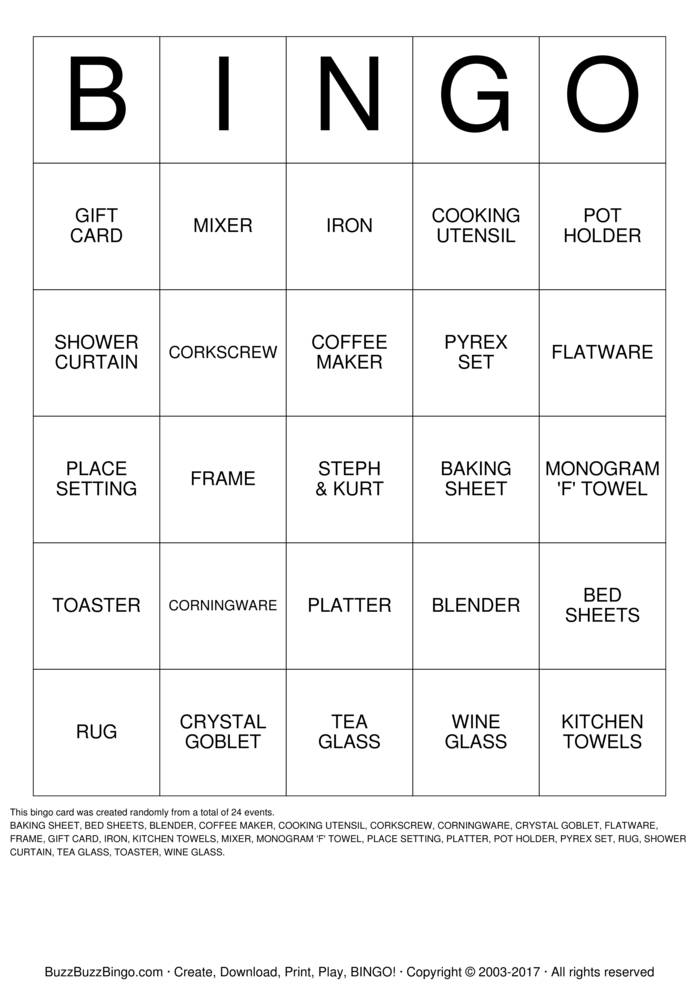cooking bingo cards to download  print and customize
