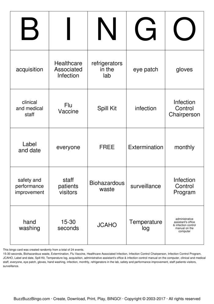 Infection Control Bingo Bingo Card