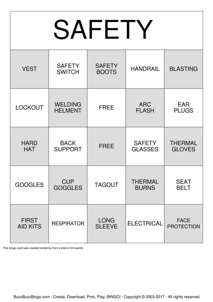 Bingo Card Template Free Printable Safety Bingo Cards - Safety Bingo ...