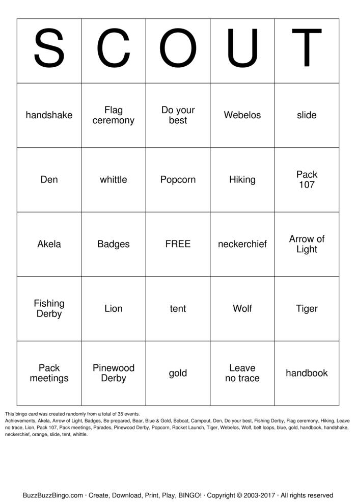 Download Cub Scouts Bingo Cards