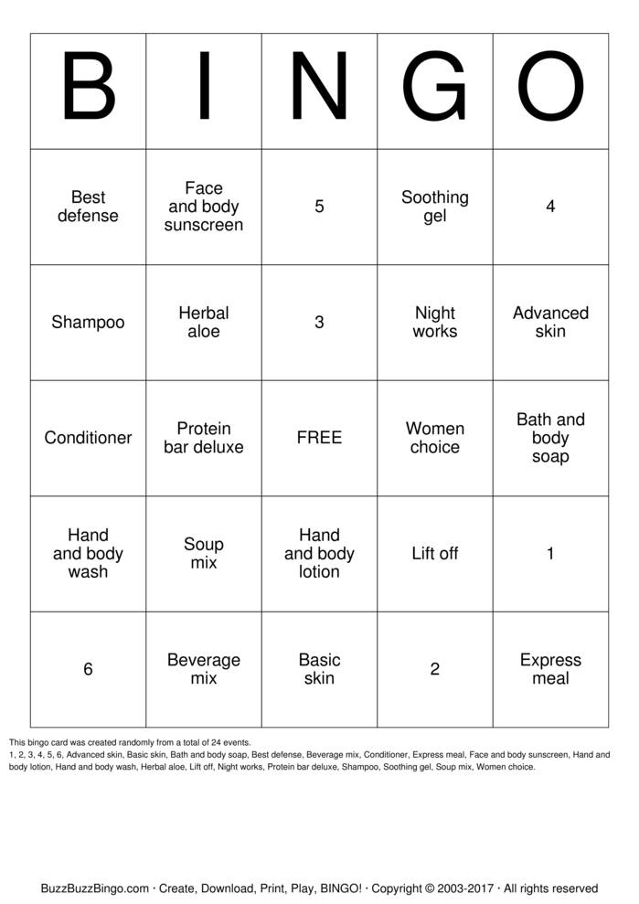 Herbalife Bingo Bingo Cards To Download Print And Customize