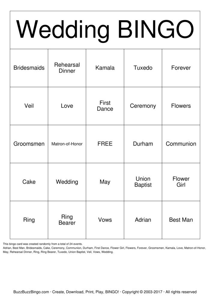 Download Kamala & Adrian's Bingo Cards