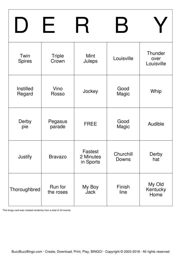 Download Kentucky Derby Bingo Cards