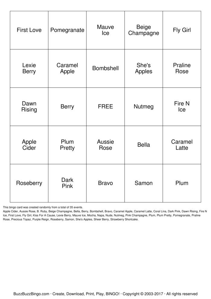 Download LipSense BINGO Bingo Cards