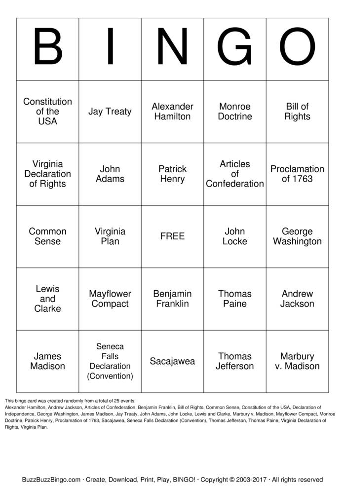 US HISTORY REVIEW Bingo Card