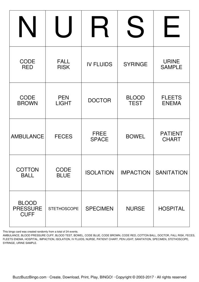 nurse bingo cards to download  print and customize