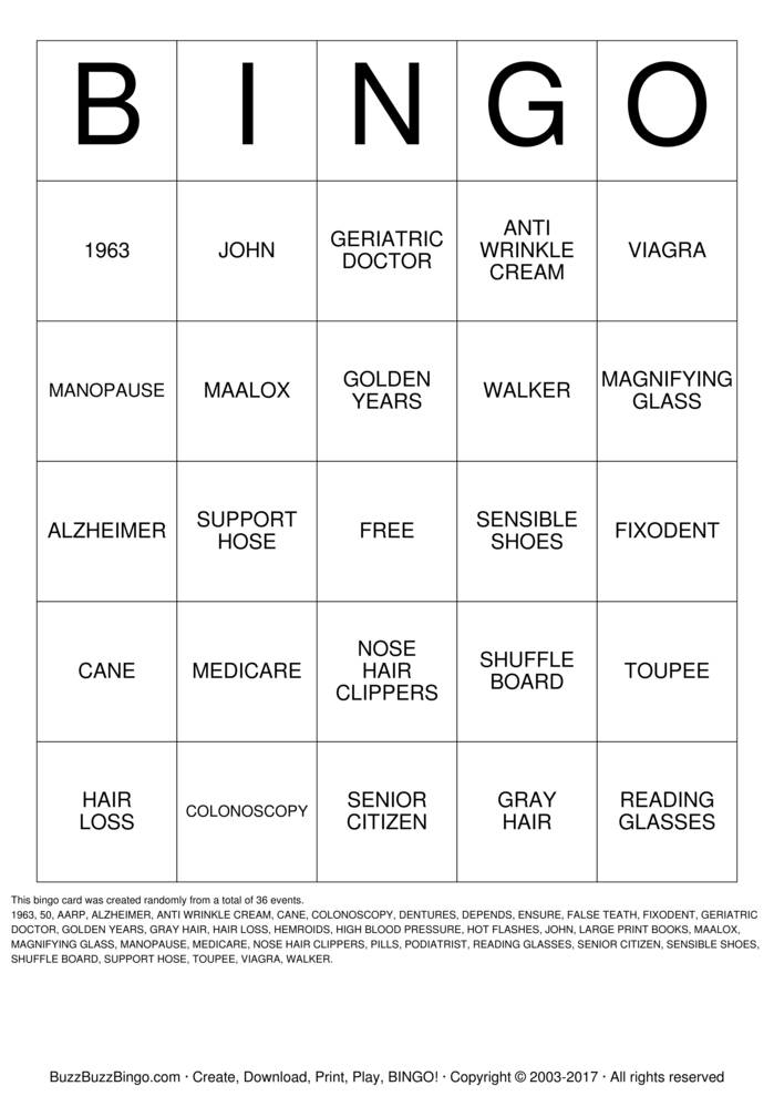 OVER THE HILL Bingo Card