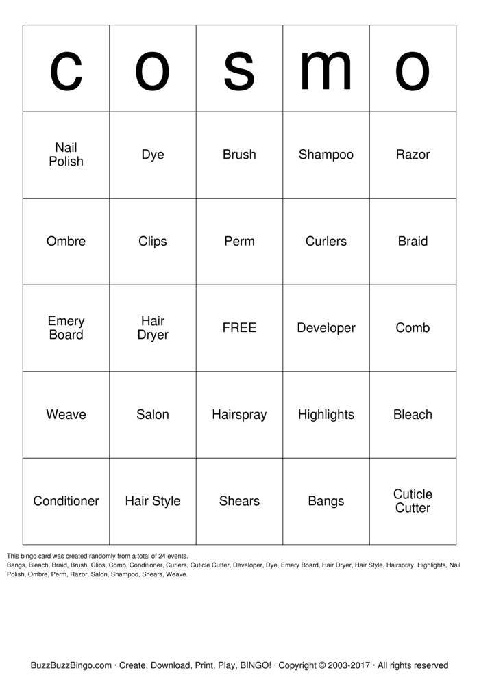 Download cosmo Bingo Cards