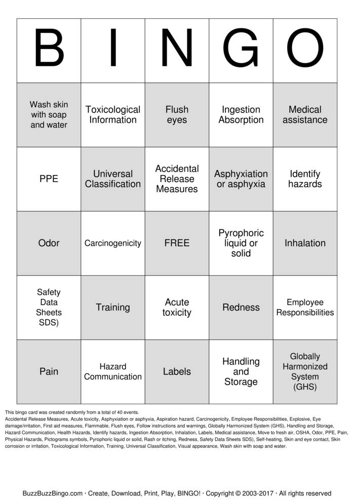 Download HazCom - GHS Bingo Cards