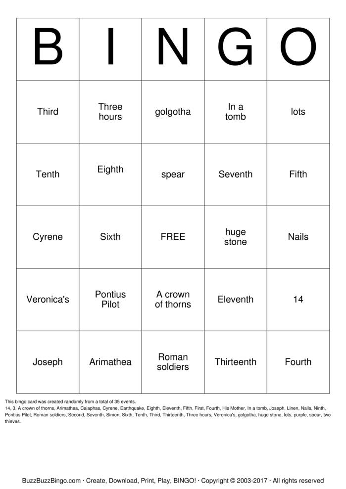 Lent Bingo Card