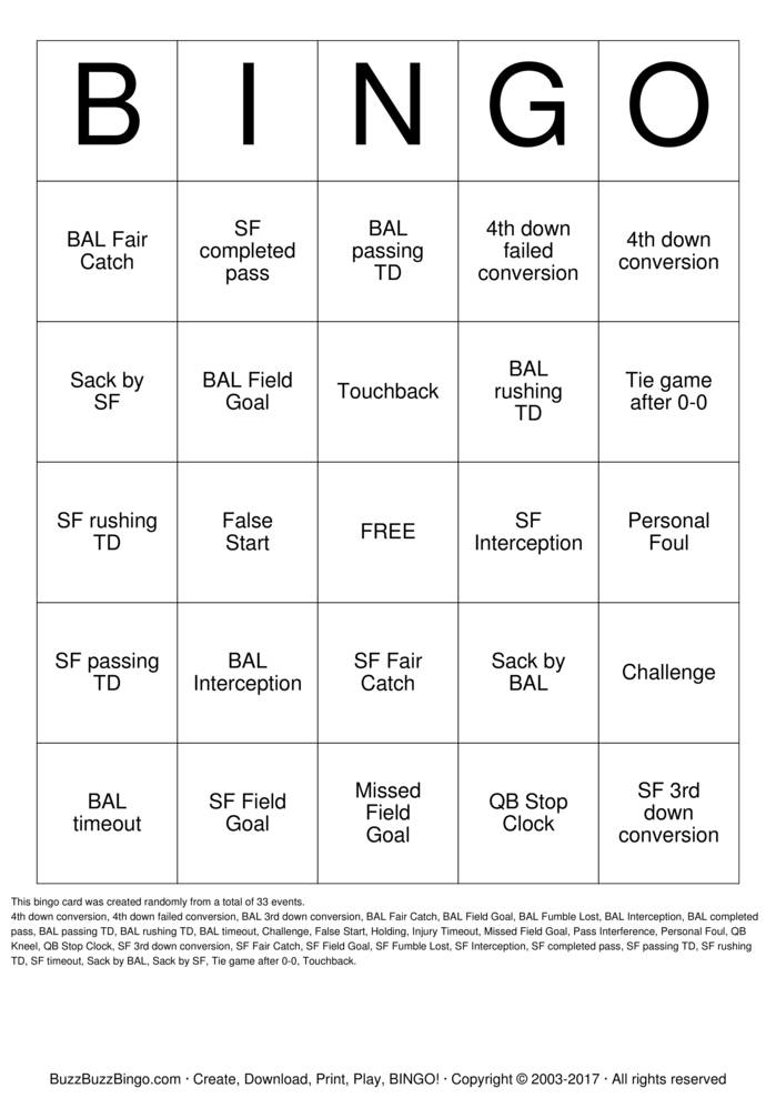 2013 Superbowl BAL vs SF Bingo Card