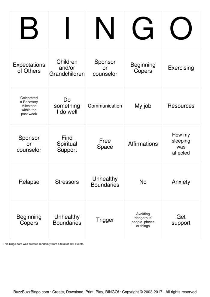 Boundaries Bingo Card