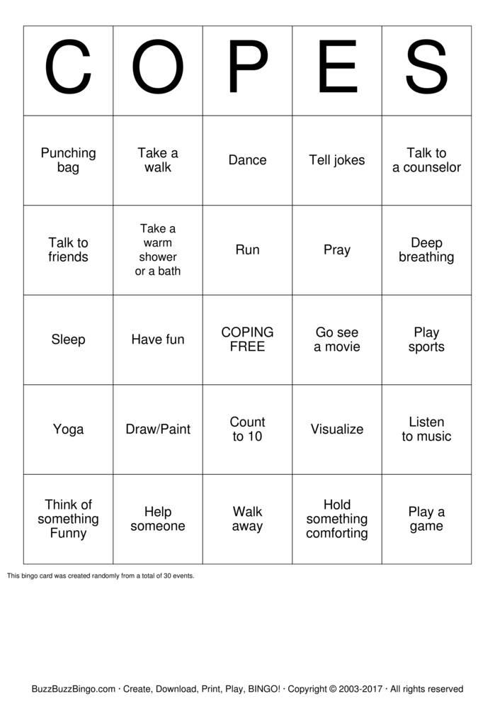 Download Coping Skills Bingo Cards