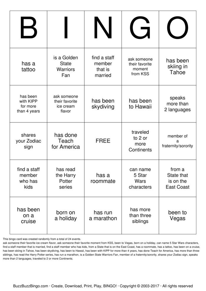 Download KIPP Bay Area  Bingo Cards