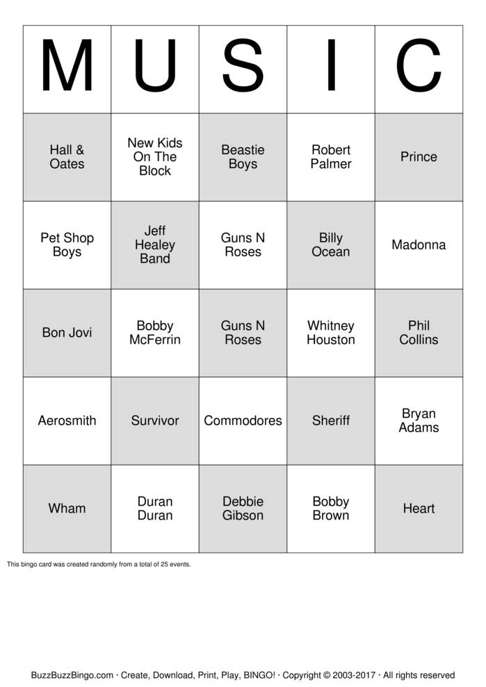 Download 80's Artist Bingo Cards