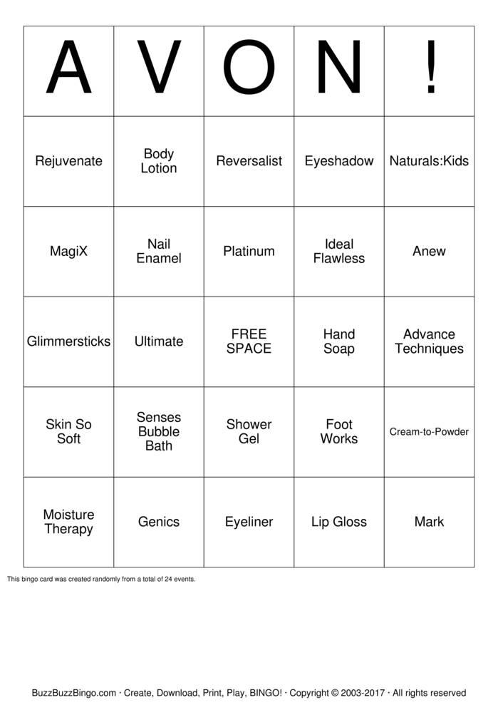 Download AVON! Bingo Cards