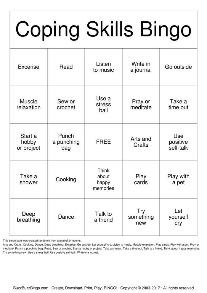 Download Coping Skills  Bingo Cards