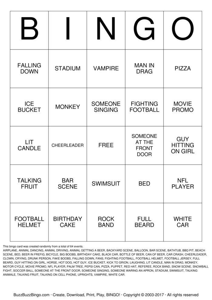 This is a picture of Accomplished Free Printable Football Bingo Cards
