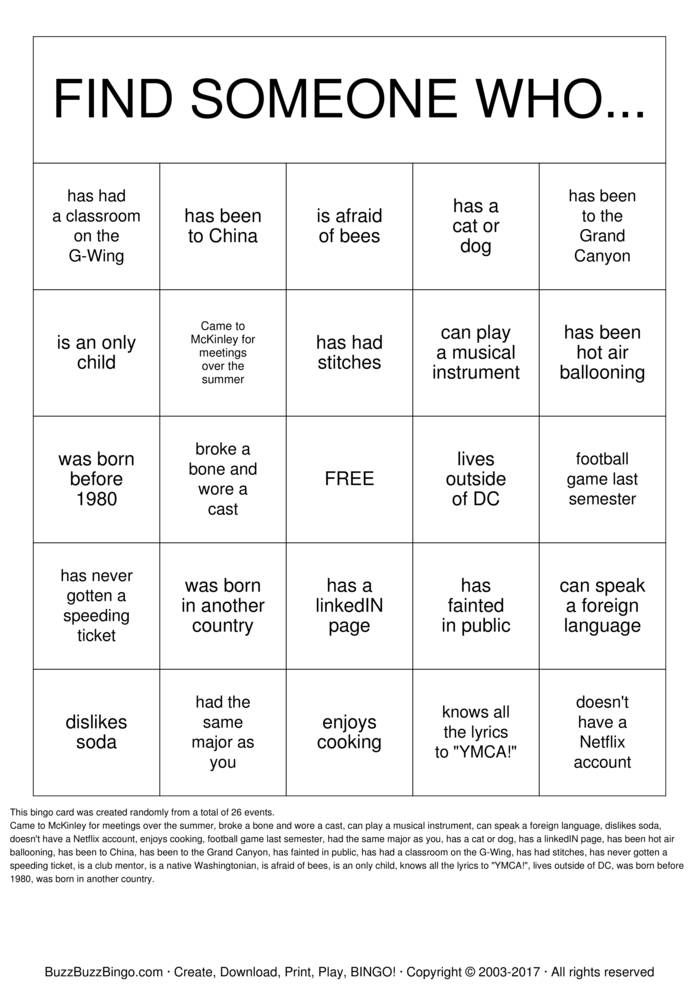 Download Peer Mentor/Mentee Meet and Greet Bingo Cards